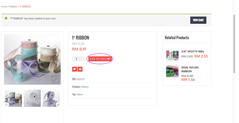 Step 3: Add product of choice to Cart by clicking 'Add to Cart'