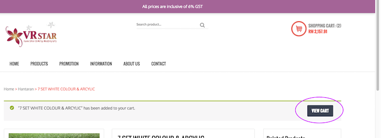 Step 4a: View your cart by clicking 'View Cart' OR follow 4b for a preview without redirecion